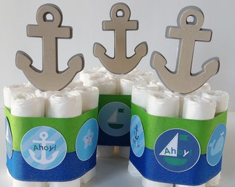 Nautical Mini Diaper Cakes, Nautical Baby Shower Centerpieces, Sailor Diaper Cake, Ahoy It's A Boy Baby Shower Decor, Blue and Green
