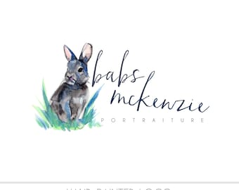 CLEARANCE - Watercolor Business Logo - Watercolor, Bunny Rabbit, Nature,  Drawn,  Nature, Simple Design, woodland creature, Photography