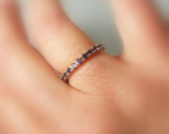 Eternity Band 14K Gold, Gemstone Ring, Birthstone Band, Anniversary Ring