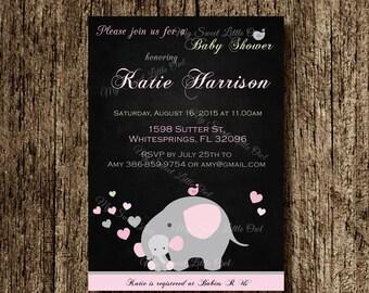 Girl Elephant  invitation - girl elephant baby shower - elephant printable - pink elephant invite - elephant birthday - chalkboard elephant