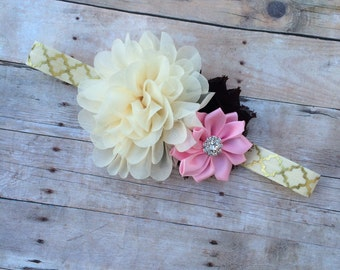Ritsy Chic Gold, Ivory, Brown and Light Pink Headband - First Birthday, Cake Smash, Photography Prop, Blooming Lilac - Newborn - Vintage