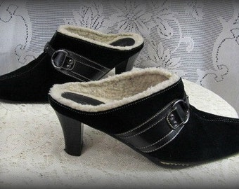 Balck leather shoes, Slip on shoes, Slide on shoes, Leather clogs, Women's size 8m shoes, Women's leather heels