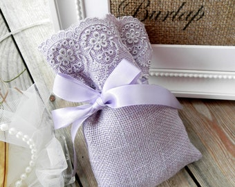 Lavender Burlap Linen Favor Bags - wedding favor bags - Baptsim Favor bags - baby shower favor bags