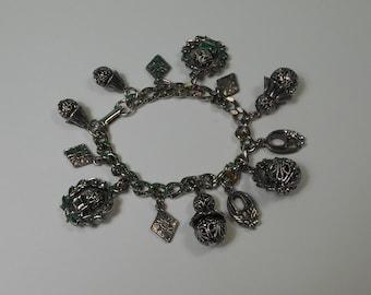 Silver Tone Filigree Charm Bracelet