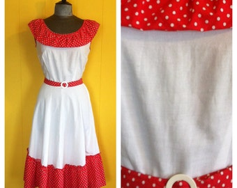 Vintage red and white polka dot ruffle Dress, size 6