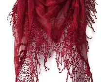 Red Lace Style Triangle Scarf , Ladies Embroidered Floral Scarf, Lacy Embroidery Flowers