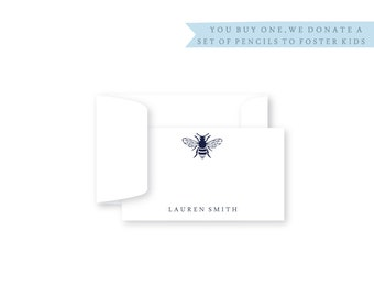 Personalized Gift Enclosure Cards, Personalized, Set of 10, Bumble Bee