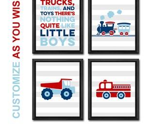 truck nursery, firetruck nursery, truck baby shower, truck playroom, train nursery, little boys room decor, firetruck kids wall art