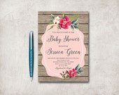 Rustic Baby Shower Invitation Printable, Floral Baby Shower Invitation, Floral Invitation, Girl Baby Shower Invitation, Digital file