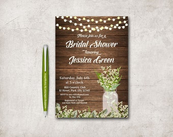 Rustic Bridal Shower Invitation, Printable Bridal Shower Invitation Fall Mason Jar Bridal Shower Invitation, Summer Babys breath Invitation