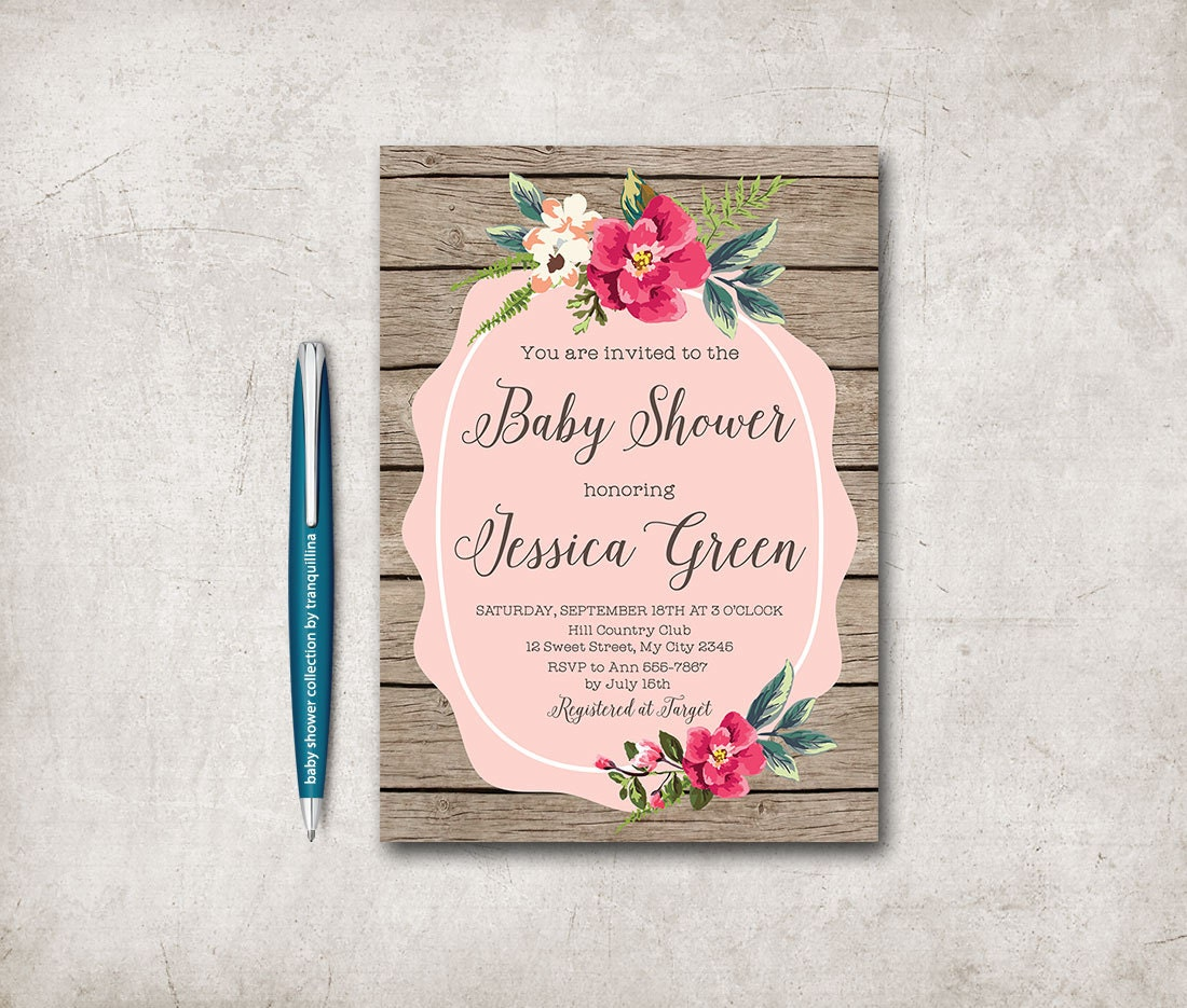 rustic baby shower invitation printable floral baby shower