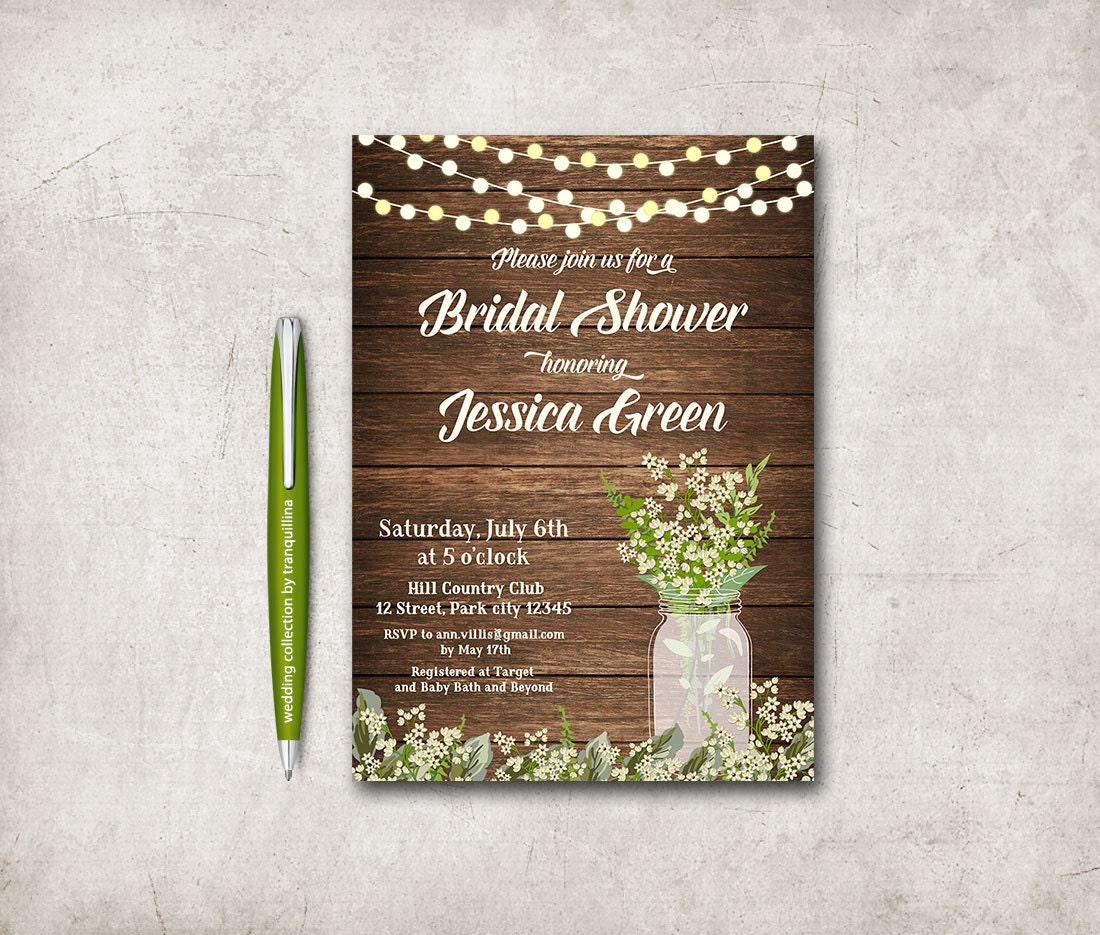 Baby's Breath Bridal Shower Invitation