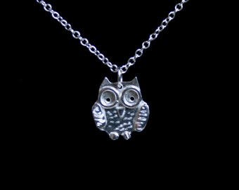 Traditionally handmade 'Owlet collection' 'Baby Owl' Pendant. A cute engraved 3D baby owl. Eco friendly recycled sterling silver.