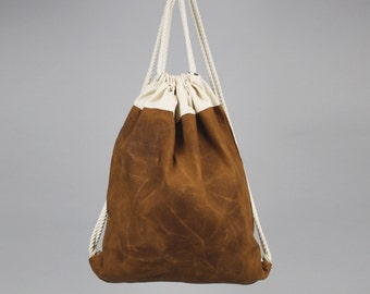The Daniel Drawstring Backpack // Caramel Brown and Natural Waxed Canvas Two-Tone Backpack/Tote with Rope Drawstring