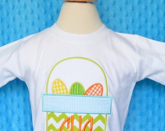 Personalized Easter Basket with Eggs Applique Shirt or Onesie Girl or Boy