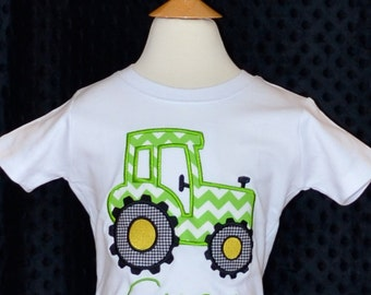 Personalized Tractor Applique Shirt or Onesie for Boy or Girl
