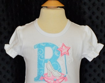 Personalized Initial or  Birthday Number with Princess Glass Slipper Applique Shirt or Onesie Girl