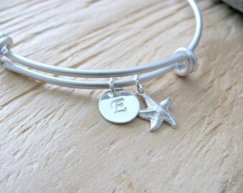 Personalized Initial Bangle Silver Starfish Bangle Monogram Initial Bangle Custom hand stamped letter circle disc monogram jewelry letters