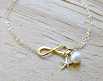 14k gold filled Infinity Bracelet with starfish & Pearl Starfish Bracelet Bridesmaid Bracelets Starfish Jewelry  Infinit  Beach weddings
