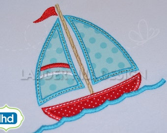 Sailboat in the Water Applique Embroidery Design WA025