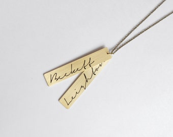 CUSTOM MADE name bar necklace with two pendants in long chain (no closure). Vertical. Names of your choice. Handmade of brass.