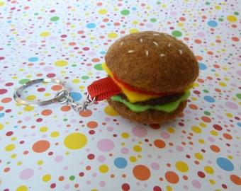 Felt Cheeseburger Keychain