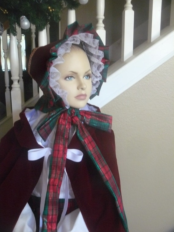 Victorian Style Hats, Bonnets, Caps, Patterns Custom Made Dickens Christmas Carol Little Women Civil War Bonnet Girls Ladies Hat $65.00 AT vintagedancer.com