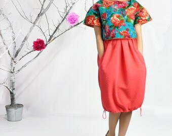 Midi Skirt, Tulip Skirt, High Waisted Midi Skirt, Balloon Skirt, Peach Color Quilted Skirt, Bubble Jersey Midi Skirt, Plus Size Midi Skirt