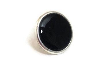 Goth Black Ring, Goth Fashion Ring, Round Black Ring, Adjustable Black Ring, Minimalist Round Ring, Modern Black Ring, Simple Black Ring