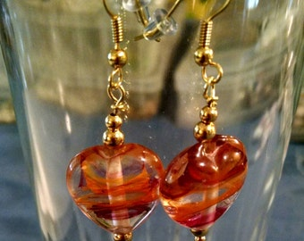 Orange and Pink Heart Glass Bead Earrings Item No. 46
