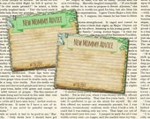 """Vintage Style Adventure Travel Themed New Mommy Advice Baby Shower """"Game""""  Printable Cards -JPG file Prints 4 cards on ONE 8.5""""x11"""" page"""