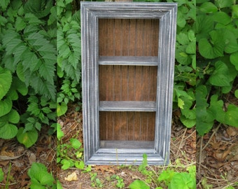 Distressed Shadow Box Wall Shelf Cottage Chic Rustic Country Furniture 2 Shelves Curio