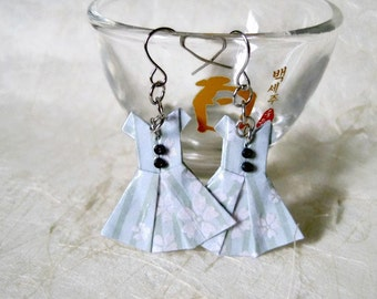 Origami Jewelry - Paper Dress Earrings - Paper Anniversary - Paper Jewelry - Origami Earrings - WY03