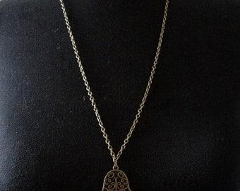 Large Antique bronze hamsa necklace, Long Hamsa necklace, Men's hamsa necklace, Hamsa hand necklace, Amulet necklace, Hand of fatima jewelry