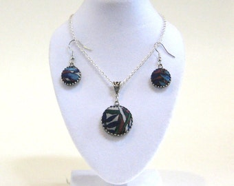 Silk Tie Necklace and Earring Set, Upcycled Necklace and Earrings, Hostess Gift, Gift for Her, Gift For Mom