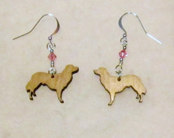 "Nova Scotia Duck Tolling Retriever Dog ""Toller"" Laser Cut Earrings with Swarovski Crystal"