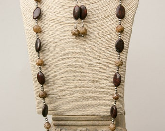 """Long 32"""" Red Poppy Jasper and Carved Jade beaded necklace with pyrite spacer beads. WITH Matching earrings."""