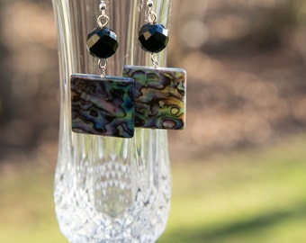 Onyx and Abalone shell, wire wrapped earrings.