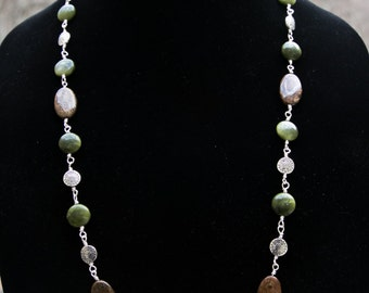 Long wire-wrapped earthy necklace with gorgeous green opal coin beads, brown bronze beads and pretty pewter disk beads