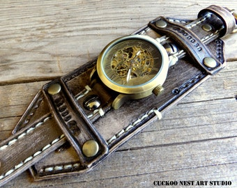 Leather Watch, Men's watch, Distressed Black Cuff, Bracelet Watch, Cuff Watch, Mechanical Watch, Steampunk, Skeleton watch