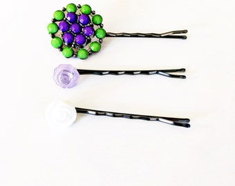 Button Bobby Pins-Set of 3