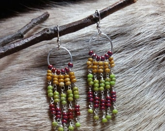 Boho Czech Glass Seed Bead Cascading Dangle Earrings Are Fun And Young
