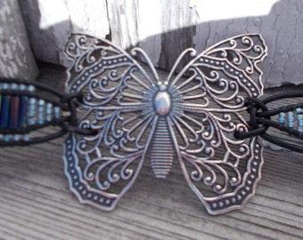 Antiqued Silver Butterfly Bracelet