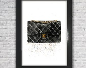 Chanel Bag | Chanel Print, Chanel decoration, Chanel art print, Watercolor painting, Chanel art, Wall Decor, Home Decor, Art Print, Wall art