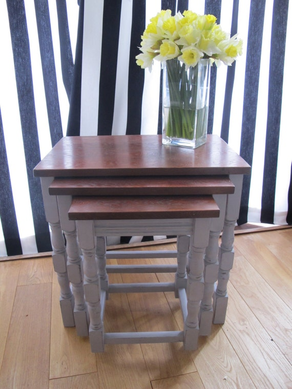 Shabby Chic Nesting Tables ~ Nest of tables shabby chic chalk painted furniture with annie