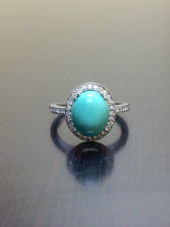 turquoise engagement ring 14k white gold halo diamond