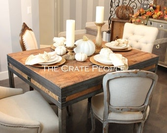 FREE SHIPPING - Reclaimed Barn wood & Metal Dining Table | Customizable