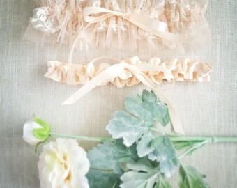 Lesia Lace and tulle garter set, tulle wedding garter, flower garter, bridal garter, blush, boho garter, delicate garter, designer #516