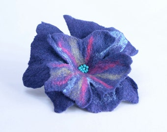 Purple felt brooch with turquoise beads - felted flower brooch in romantic vintage style - one of a kind jewelry, handmade brooch [B65]