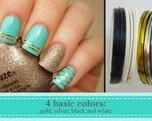 4 basic colors of nail art striping tape, gold, silver, black and white/ Adhesive nail decoration tape/ Adhesive nail art foil